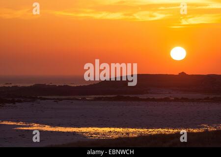 idyllic sunset over the sea, France, Brittany - Stock Photo