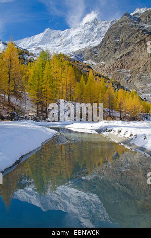 Saas Fee, Dom Mountain range mirroring in a melt water creek of the Fee Glacier, Switzerland, Valais - Stock Photo