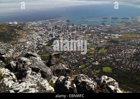 view from table mountain onto the town, South Africa, Table Mountain National Park, Capetown - Stock Photo