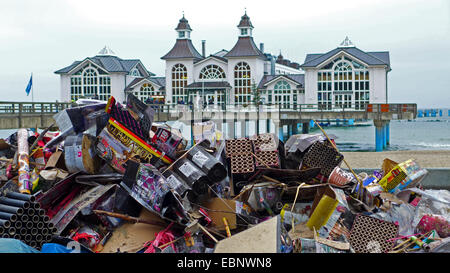 New Year's Eve trash at the New Year's Day on the beach in front of the Sellin Pier, Germany, Mecklenburg-Western - Stock Photo