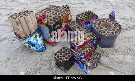 Sylvester trash at the New Year's Day on the beach, Germany, Mecklenburg-Western Pomerania, Ruegen - Stock Photo