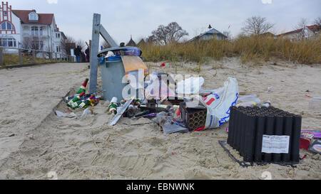 New Year's Eve trash on the beach , Germany, Mecklenburg-Western Pomerania, Ruegen - Stock Photo
