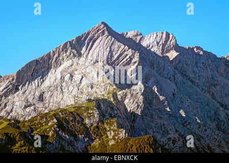 view to Alpspitze, Germany, Bavaria, Oberbayern, Upper Bavaria, Garmisch-Partenkirchen - Stock Photo