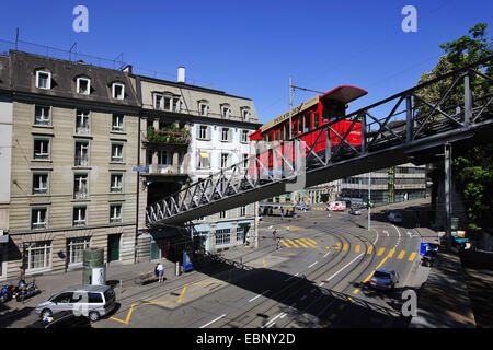tram Polybahn on bridge conecting Central Square and University, Switzerland, Zurich - Stock Photo