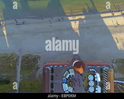 aerial view to Baltic Sea beach with promenade and terrace of spa hotel, Germany, Mecklenburg-Western Pomerania, - Stock Photo