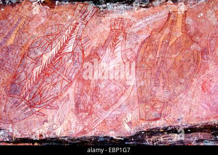 Aboriginal cave art at Kakadu National Park, Northern Territory, Australia. - Stock Photo