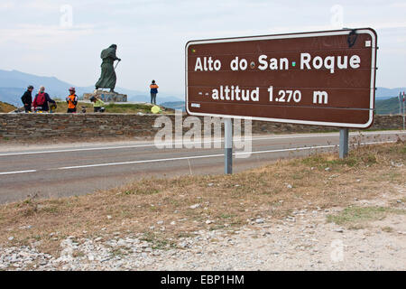 Way of St. James, on top of Alto do San Roque, Spain, Galicia, Lugo, Passhoehe San Roque - Stock Photo