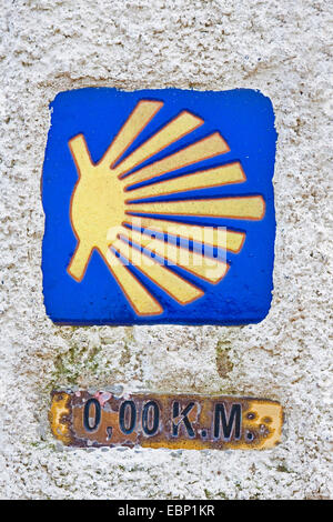 Way of St. James, milestone zero, Spain, Galicia, A Coruna, Kap Finisterre - Stock Photo