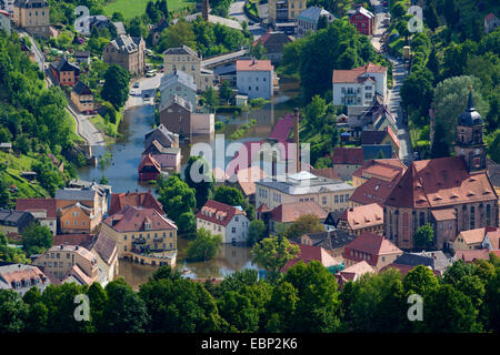 Elbe flood in summer 2013, view to flooded village, Germany, Saxony - Stock Photo