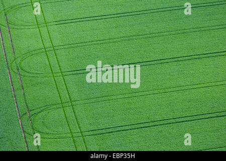 aerial view to lanes in a field, Germany - Stock Photo