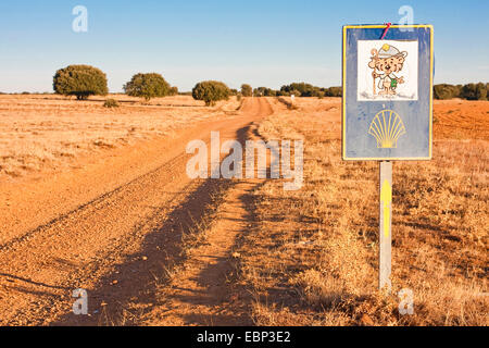 Way of St. James, direction sign at the long way to Calzadilla de los Hermanillos, Spain, Castile and Leon, Leon - Stock Photo