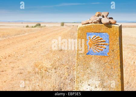Way of St. James, direction sign at the way to Reliegos between Calzadilla de los Hermanillos and Reliegos, Spain, - Stock Photo