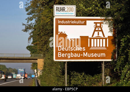 information sign on a highway in Ruhrgebiet about the German Mining Museum, Deutsches Bergbau-Museum Bochum, Germany, - Stock Photo