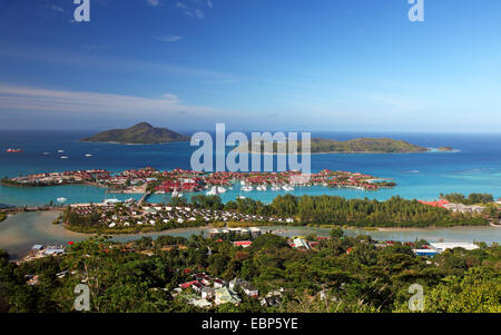 view onto Eden Island, Seychelles, Mahe, Victoria - Stock Photo