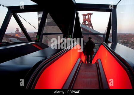 people on the illuminated gangway of Zollverein Schacht XII in twilight, Germany, North Rhine-Westphalia, Ruhr Area, - Stock Photo