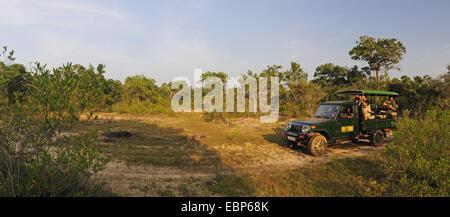 safari jeep with wildlife photographers in wilderness, Sri Lanka, Wilpattu National Park - Stock Photo
