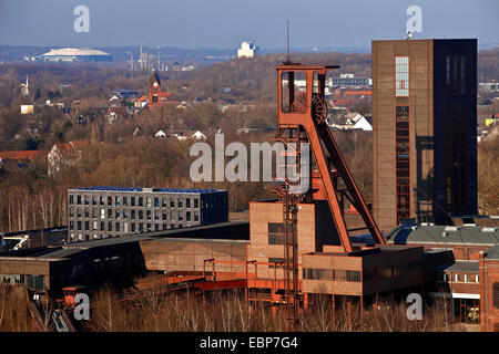 view from Zollverein Coal Mine Industrial Complex to Veltins-Arena, Germany, North Rhine-Westphalia, Ruhr Area, - Stock Photo
