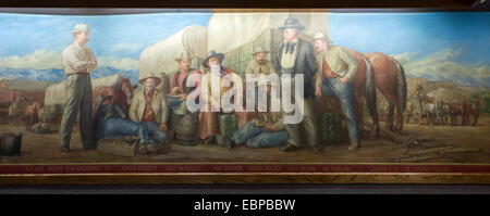 Price, Utah - A section of a painting in the Price Municipal Building that depicts the history of Carbon County. - Stock Photo