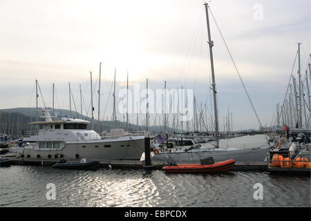 Largs Yacht Haven marina, North Ayrshire, Scotland, Great Britain, United Kingdom, UK, Europe - Stock Photo