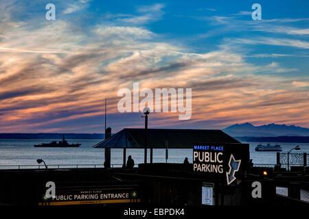 Sunset, Seattle, Wa - Stock Photo