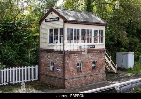 Railway signal box in Llandrindod Wells, Powys, Wales, UK. - Stock Photo