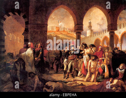 Napoleon visiting the plague victims of Jaffa, by Antoine Jean Gros - Stock Photo