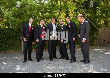 groom and groomsmen wedding attendants wedding party at wedding at the Marin Art and Garden Center in the city of - Stock Photo