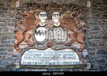 Coat of arms, Altena Castle, Altena, Lennetal, Maerkischer Kreis, Sauerland, North Rhine-Westphalia, Germany, Europe, - Stock Photo
