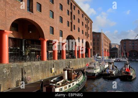 Boats moored in Albert Dock, UNESCO World Heritage Site, Liverpool, Merseyside, England, United Kingdom, Europe - Stock Photo