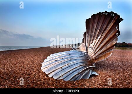 The Scallop Sculpture on Aldeburgh Beach, Aldburgh, Suffolk, England, United Kingdom, Europe - Stock Photo