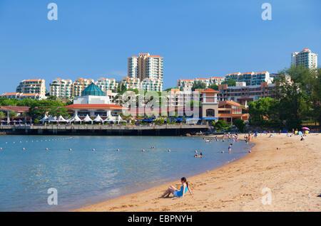 People on beach, Discovery Bay, Lantau, Hong Kong, China, Asia - Stock Photo
