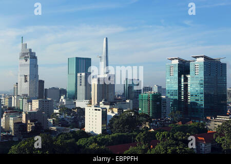The skyline of the downtown area, including the Bitexco Tower, Ho Chi Minh City (Saigon), Vietnam, Indochina, Southeast - Stock Photo