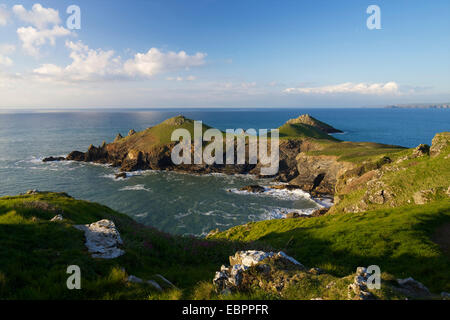 Views of Atlantic surf at Rumps Point, Pentire Headland, North Cornwall, England, United Kingdom, Europe - Stock Photo