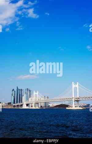 City skyline and Gwangang bridge, Busan, South Korea, Asia - Stock Photo