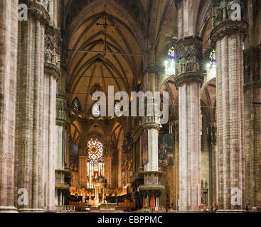 Interior of Milan Cathedral, Piazza Duomo, Milan, Lombardy, Italy, Europe - Stock Photo