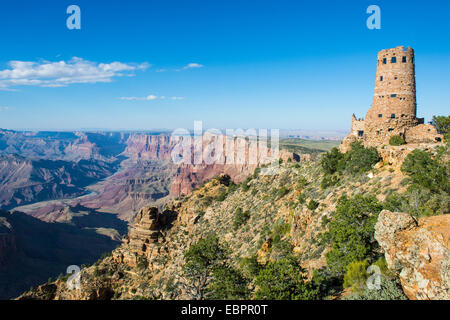 Desert view stone tower on top of the south rim of the Grand Canyon, UNESCO World Heritage Site, Arizona, USA - Stock Photo
