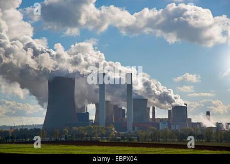 brown coal-fired power station RWE-Power in Niederaussem, Germany, North Rhine-Westphalia, Niederaussem - Stock Photo