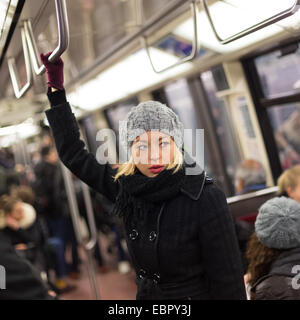 Woman on subway. - Stock Photo