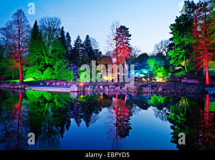 illuminated Grugapark in the evening, Germany, North Rhine-Westphalia, Ruhr Area, Essen - Stock Photo
