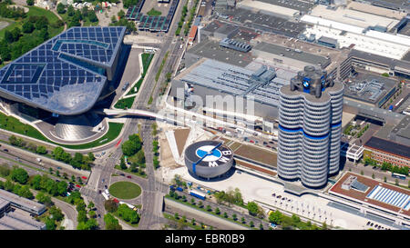 aerial view to BMW World, BMW Museum and BMW four-cylinder, 8.5.2008, Germany, Bavaria, Muenchen - Stock Photo