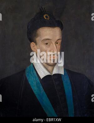 ActiveMuseum_0001910.jpg / Henry III, King of France, circa 1585 - Attributed to Francois Quesnel Oin on canvas - Stock Photo