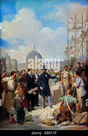 ActiveMuseum 0001920.jpg / Napoleon III visiting the site of the Louvre, 1854 - Nicolas Gosse  Oil on canvas 25/09/2013 - Stock Photo