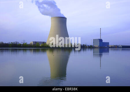 nuclear power plant Ohu in evening light, Germany, Bavaria, Isar, Landshut - Stock Photo