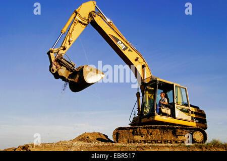 steamshovel on a construction site, Austria - Stock Photo