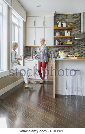 Women drinking wine and talking in kitchen - Stock Photo