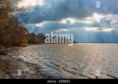 approaching thunderstorm over Chiemsee, Germany, Bavaria, Lake Chiemsee - Stock Photo