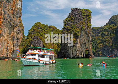 excursion ship and boats in the Gulf of Thailand, Thailand - Stock Photo