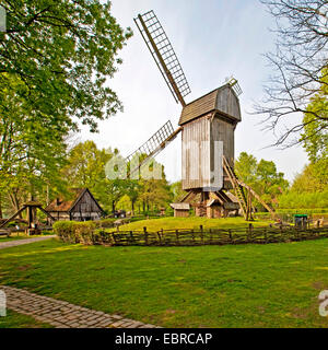 post mill in the Muehlenhof open-air museum, Germany, North Rhine-Westphalia, Muensterland, Muenster - Stock Photo