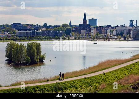 Lake Phoenix and Hoerde district, Germany, North Rhine-Westphalia, Ruhr Area, Dortmund - Stock Photo