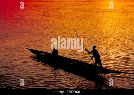 fishing boot at sunset, Mali - Stock Photo